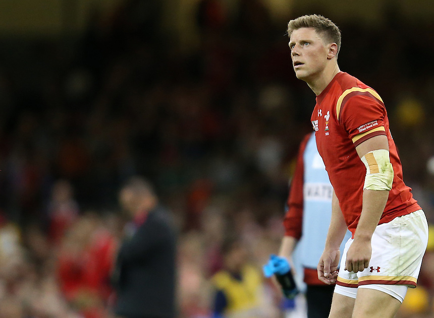 Wales' Rhys Priestland in action during todays match<br /> <br /> Photographer Ian Cook/CameraSport<br /> <br /> Rugby Union - 2015 Rugby World Cup - Wales v Uruguay - Sunday 20th September 2015 - Millennium Stadium - Cardiff<br /> <br /> &copy; CameraSport - 43 Linden Ave. Countesthorpe. Leicester. England. LE8 5PG - Tel: +44 (0) 116 277 4147 - admin@camerasport.com - www.camerasport.com