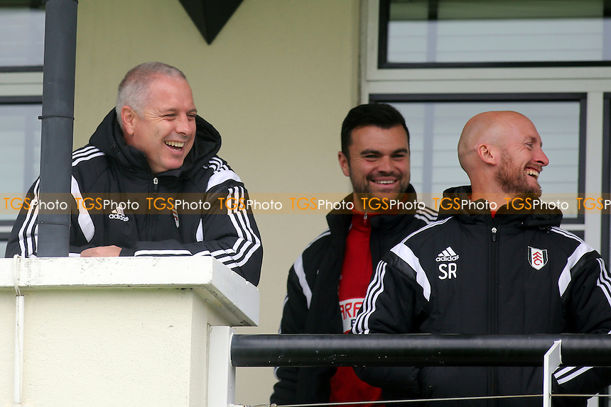 Fulham's caretaker manager, Kit Symons, shares a joke during the Fulham Under 21's match against Liverpool Under 21's - Fulham Under-21 vs Liverpool Under-21 - Barclays Under-21 Premier League Football at Motspur Park Training Ground, Surrey - 26/10/14 - MANDATORY CREDIT: Paul Dennis/TGSPHOTO - Self billing applies where appropriate - contact@tgsphoto.co.uk - NO UNPAID USE