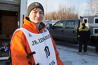 Dakota Schlosser portrait at the start of the 2016 Junior Iditarod Sled Dog Race on Willow Lake  in Willow, AK February 27, 2016