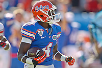 January 02, 2012:   Florida Gators wide receiver Andre Debose (4) returns a punt for a touchdown during first half action at the 2012 Taxslayer.com Gator Bowl between the Florida Gators and the Ohio State Buckeyes at EverBank Field in Jacksonville, Florida.