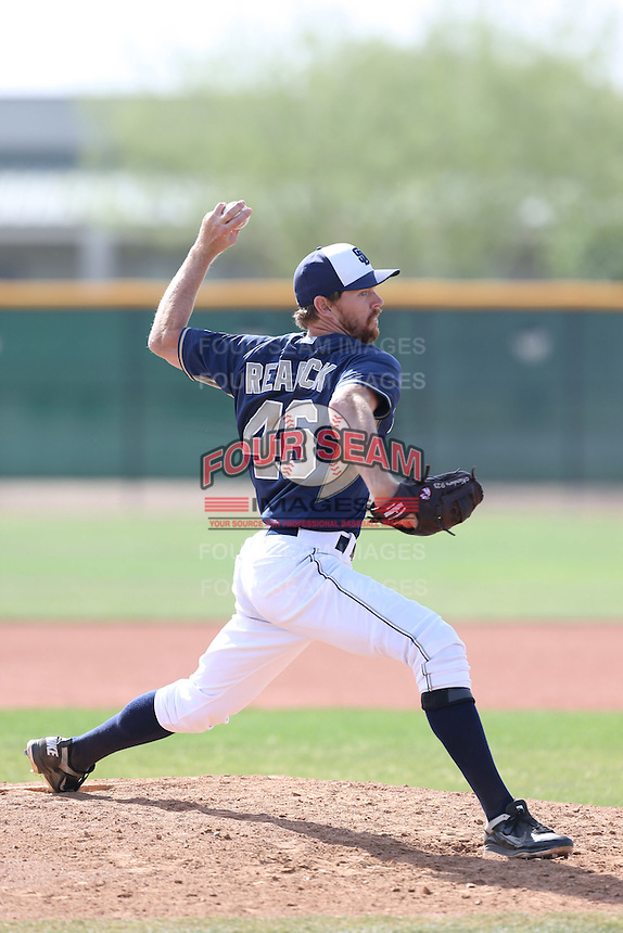 Chris Rearick #46 of the San Diego Padres pitches during a Minor League Spring Training Game against the Kansas City Royals at the Kansas City Royals Spring Training Complex on March 26, 2014 in Surprise, Arizona. (Larry Goren/Four Seam Images)