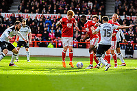 Nottingham Forest's defender Jack Colback (18) and Nottingham Forest's defender Tendayi Darikwa (27) leave it to each other during the Sky Bet Championship match between Nottingham Forest and Derby County at the City Ground, Nottingham, England on 10 March 2018. Photo by Stephen Buckley / PRiME Media Images.