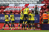 Oxford United players congratulate James Henry after scoring their first goal during Charlton Athletic vs Oxford United, Sky Bet EFL League 1 Football at The Valley on 3rd February 2018
