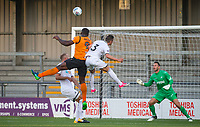 John Akinde (9) of Barnet scores the only goal of the match during the 2017/18 Pre Season Friendly match between Barnet and Swansea City at The Hive, London, England on 12 July 2017. Photo by Andy Rowland.