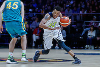 July 14, 2016: LORENZO BONAM (33) of the Utah Utes controls the ball during game 2 of the Australian Boomers Farewell Series between the Australian Boomers and the American PAC-12 All-Stars at Hisense Arena in Melbourne, Australia. Sydney Low/AsteriskImages.com