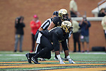 Duke Ejiofor (53) of the Wake Forest Demon Deacons lines up on defense during first half action against the Louisville Cardinals at BB&T Field on October 28, 2017 in Winston-Salem, North Carolina.  The Demon Deacons defeated the Cardinals 42-32.  (Brian Westerholt/Sports On Film)
