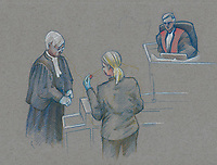 Montreal - CANADA - File images -  An artist's sketch shows Miss Simoneau testifying at <br /> Luka Rocco Magnotta's trial for the murder of Lin Jun,, October 1st, 2014.<br /> <br />  It is one of the most grisly and sensational murder trials in Canadian history<br /> <br /> Image :  Agence Quebec Presse  - Atalante