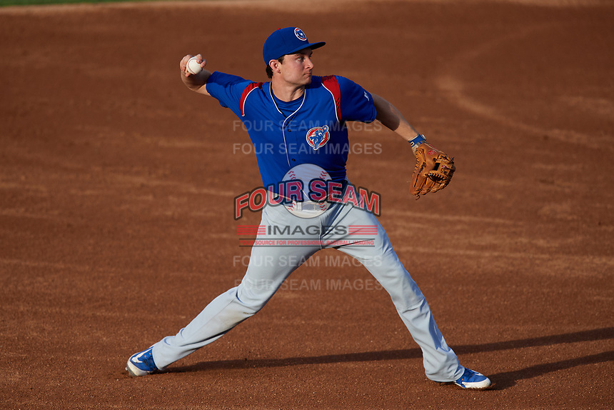 South Bend Cubs third baseman Austin Filiere (21) throws to first base during a game against the Kane County Cougars on July 21, 2018 at Northwestern Medicine Field in Geneva, Illinois.  South Bend defeated Kane County 4-2.  (Mike Janes/Four Seam Images)