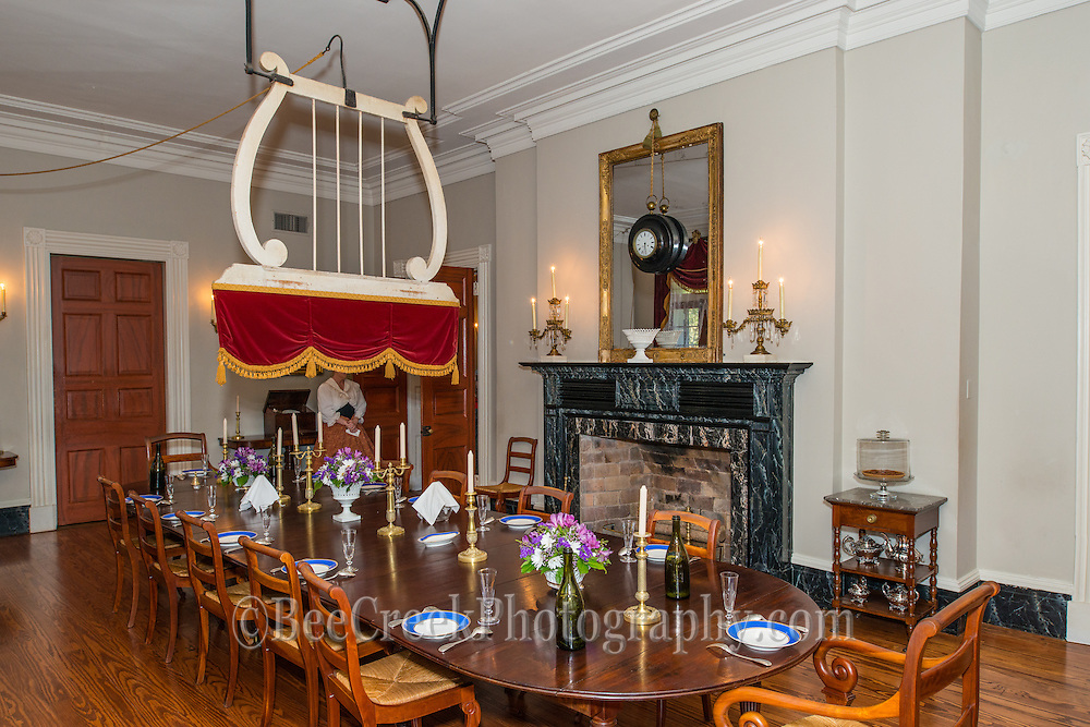 We took the tour of the mansion and this was the dinning room that the owner would use for when guest would come to dinner.  We wanted to show the  over sized fan which was power by one of the slaves on the grounds for many hours as they would have many courses through out the meals.