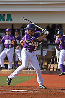 James Madison University infielder Ty McFarland #21 at bat during a game against the Boston College Eagles at Watson Stadium at Vrooman Field on February 18, 2012 in Conway, SC.  Boston College defeated James Madison 8-5.  (Robert Gurganus/Four Seam Images)