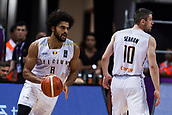 7th September 2017, Fenerbahce Arena, Istanbul, Turkey; FIBA Eurobasket Group D; Belgium versus Serbia; Power Forward Jean Marc Mwema #8 of Belgium and Point Guard Quentin Serron #10 of Belgium in action during the match