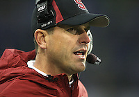 Oct 30, 20010:  Stanford head coach Jim Harbaugh watches from the sidelines against Washington.  Stanford defeated Washington 41-0 at Husky Stadium in Seattle, Washington.
