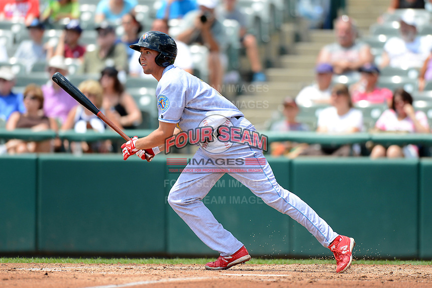 Reading Fightin Phils outfielder Kelly Dugan #7 during a game against the Trenton Thunder on July 8, 2013 at Arm & Hammer Park in Trenton, New Jersey.  Trenton defeated Reading 10-6.  (Mike Janes/Four Seam Images)