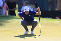 Lucas Bjerregaard (DEN) on the 9th green during Sunday's Final Round of the 2018 Turkish Airlines Open hosted by Regnum Carya Golf &amp; Spa Resort, Antalya, Turkey. 4th November 2018.<br /> Picture: Eoin Clarke | Golffile<br /> <br /> <br /> All photos usage must carry mandatory copyright credit (&copy; Golffile | Eoin Clarke)
