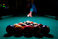 Germany, pool table with billiard ball