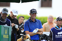 Anders Hansen (DEN) on the 1st tee during Saturday's rain delayed Round 2 of the Andalucia Valderrama Masters 2018 hosted by the Sergio Foundation, held at Real Golf de Valderrama, Sotogrande, San Roque, Spain. 20th October 2018.<br /> Picture: Eoin Clarke | Golffile<br /> <br /> <br /> All photos usage must carry mandatory copyright credit (&copy; Golffile | Eoin Clarke)