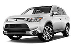 Stock pictures of low aggressive front three quarter view of a 2015 Mitsubishi Outlander GT 4WD 5 Door SUV Low Aggressive