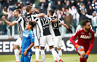 Calcio, Serie A: Juventus - Sassuolo, Torino, Allianz Stadium, 4 Febbraio 2018. <br /> Juventus' Alex Sandro celebrates after scoring with his teammates during the Italian Serie A football match between Juventus and Sassuolo at Torino's Allianz stadium, February 4, 2018.<br /> UPDATE IMAGES PRESS/Isabella Bonotto