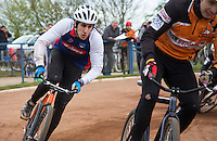 19 APR 2015 - IPSWICH, GBR - Josh Brooke (left) of Ipswich Eagles chases Pawel Idziorek (right) of Sheffield Stars during the Elite League cycle speedway fixture at Whitton Sports and Community Centre in Ipswich, Suffolk, Great Britain (PHOTO COPYRIGHT © 2015 NIGEL FARROW, ALL RIGHTS RESERVED)