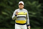 Inbee Park waves to the fans on the 2nd green at the LPGA Championship 2014 Sponsored By Wegmans at Monroe Golf Club in Pittsford, New York on August 16, 2014