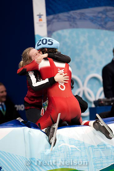 Trent Nelson     The Salt Lake Tribune.Gold medal winner Charles Hamelin embraces Marianne St-Gelais in celebration. Men's 500m final, Short Track Speed Skating at the Pacific Coliseum Vancouver, XXI Olympic Winter Games, Friday, February 26, 2010. Charles Hamelin (205, Canada, gold medal), Sung Si-Bak (244, Korea, silver medal), Francois-Louis Tremblay (208, Canada, bronze medal), Apolo Anton Ohno (256, USA, disqualified)