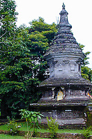 Bali, Tabanan, Bedugul. A Buddhist stupa at the Ulun Danu temple, close to the Bratan lake.