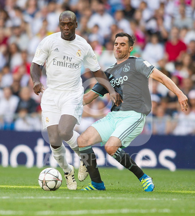 Clarence Seedorf andMarc overmars during the Corazon Classic Match 2016 at Estadio Santiago Bernabeu between Real Madrid Legends and Ajax Legends. Jun 5,2016. (ALTERPHOTOS/Rodrigo Jimenez)