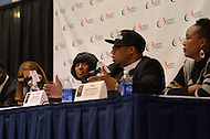 "September 23, 2011  (Washington, DC)   Reverend Lennox Yearwood (2nd f. right) speaks at the ""Hip Hop Activism in the Obama Era"" panel discussion during the 41st Annual Legislative Conference of the Congressional Black Caucus Foundation.  (pictured C-R) Tonja Styles, CEO, Political Swagger, Inc; Yearwood; Maya Rockeymoor, author, Political Action Handbook for the Hip-Hop Generation)    (Photo by Don Baxter/Media Images International)"