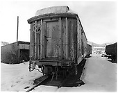 D&amp;RGW tool car X66 with archbar trucks.<br /> D&amp;RGW  Durango, CO  Taken by Payne, Andy M. - 12/26/1972
