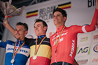 Yves Lampaert (BEL/Quick-Step Floors) is the new Belgain National Champion<br /> 2nd: Philippe Gilbert (BEL/Quick Step floors)<br /> 3rd: Jasper Stuyven (BEL/Trek-Segafredo)<br /> <br /> Belgian National Championships 2018 (road) in Binche (224km)<br /> ©kramon