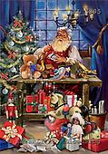 Interlitho, Simonetta, CHRISTMAS SANTA, SNOWMAN, paintings, santa, workshop, tree, KL5895,#x# Weihnachtsmänner, Papá Noel, Weihnachten, Navidad, illustrations, pinturas klassisch, clásico