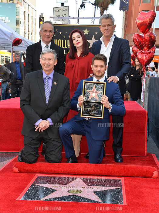 LOS ANGELES, CA. November 16, 2018: Michael Buble, Tom Corson, Leron Gubler, Priscilla Presley &amp; David Foster at the Hollywood Walk of Fame Star Ceremony honoring singer Michael Bubl&eacute;.<br /> Pictures: Paul Smith/Featureflash