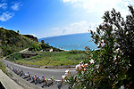 The peleton ride along the coast during Stage 7 of the 2018 Giro d'Italia, a flat stage running 159km from Pizzo to Praia a Mare, Italy. 11th May 2018.<br /> Picture: LaPresse/Fabio Ferrari   Cyclefile<br /> <br /> <br /> All photos usage must carry mandatory copyright credit (&copy; Cyclefile   LaPresse/Fabio Ferrari)