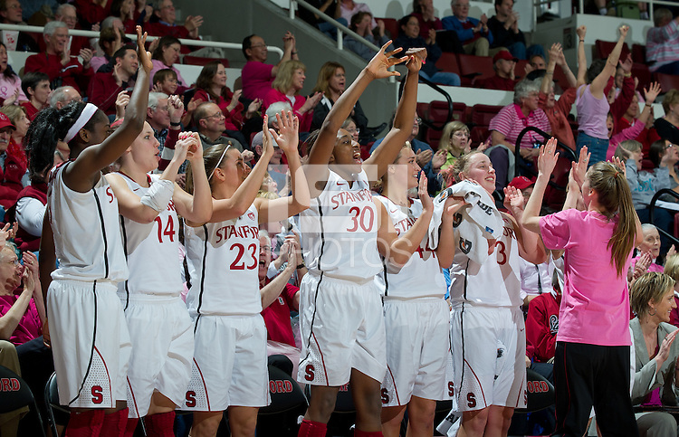 STANFORD, CA - February  10, 2011: The Stanford Cardinal players celebrate during the Stanford 100-59 win over Washington State at Maples Pavilion in Stanford, California.