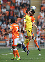 Fleetwood Town's Ched Evans and Blackpool's Michael Nottingham<br /> <br /> Photographer Stephen White/CameraSport<br /> <br /> The EFL Sky Bet League One - Blackpool v Fleetwood Town - Monday 22nd April 2019 - Bloomfield Road - Blackpool<br /> <br /> World Copyright © 2019 CameraSport. All rights reserved. 43 Linden Ave. Countesthorpe. Leicester. England. LE8 5PG - Tel: +44 (0) 116 277 4147 - admin@camerasport.com - www.camerasport.com