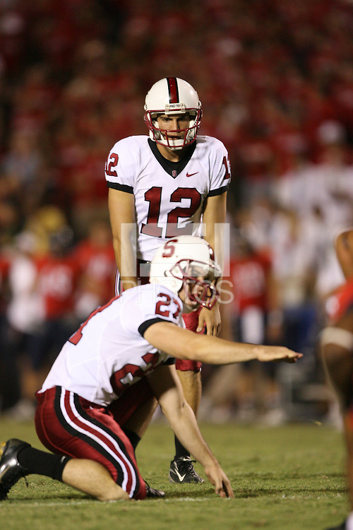 20 October 2007: Stanford Cardinal Derek Belch (12) and Jay Ottovegio (27) during Stanford's 21-20 win against the Arizona Wildcats at Arizona Stadium in Tucson, AZ.