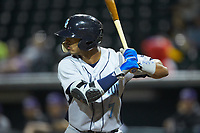 MJ Melendez (7) of the Wilmington Blue Rocks at bat against the Winston-Salem Dash at BB&T Ballpark on April 16, 2019 in Winston-Salem, North Carolina. The Blue Rocks defeated the Dash 4-3. (Brian Westerholt/Four Seam Images)