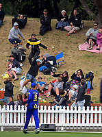 Samit Patel's six lands on the embankment during the Burger King Super Smash Twenty20 cricket match between the Wellington Firebirds and Otago Volts at the Hawkins Basin Reserve in Wellington, New Zealand on Sunday, 31 December 2017. Photo: Dave Lintott / lintottphoto.co.nz