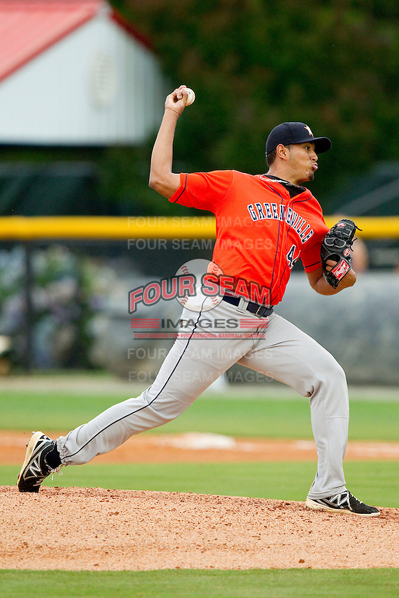 Greeneville Astros starting pitcher Enderson Franco (44) in action against the Burlington Royals at Burlington Athletic Park on July 1, 2013 in Burlington, North Carolina.  The Astros defeated the Royals 8-1 in Game Two of a doubleheader.  (Brian Westerholt/Four Seam Images)