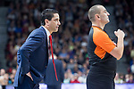 Olympiacos Piraeus coach Ioannis Sfairopoulos talking with the referee during Turkish Airlines Euroleague match between Real Madrid and Olympiacos Piraeus at Wizink Center in Madrid , Spain. February 09, 2018. (ALTERPHOTOS/Borja B.Hojas)