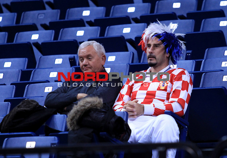 Croatian Supporters await the beggining of the semifinals between Croatia and Serbia during the Men's European Handball Championship in Belgrade January 27, 2012.<br /> <br /> Foto &copy;  nph / PIXSELL / Antonio Bronic