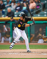 Ramon Flores (20) of the Salt Lake Bees at bat against the Fresno Grizzlies in Pacific Coast League action at Smith's Ballpark on April 17, 2017 in Salt Lake City, Utah. The Bees defeated the Grizzlies 6-2. (Stephen Smith/Four Seam Images)