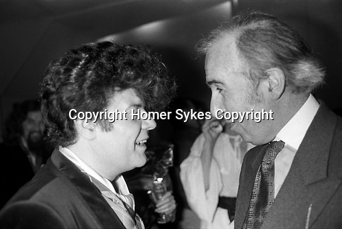 Garry Glitter and Norman St John-Stevas, Lord St John of Fawsley, politician and academic. 1981. 1980s UK.