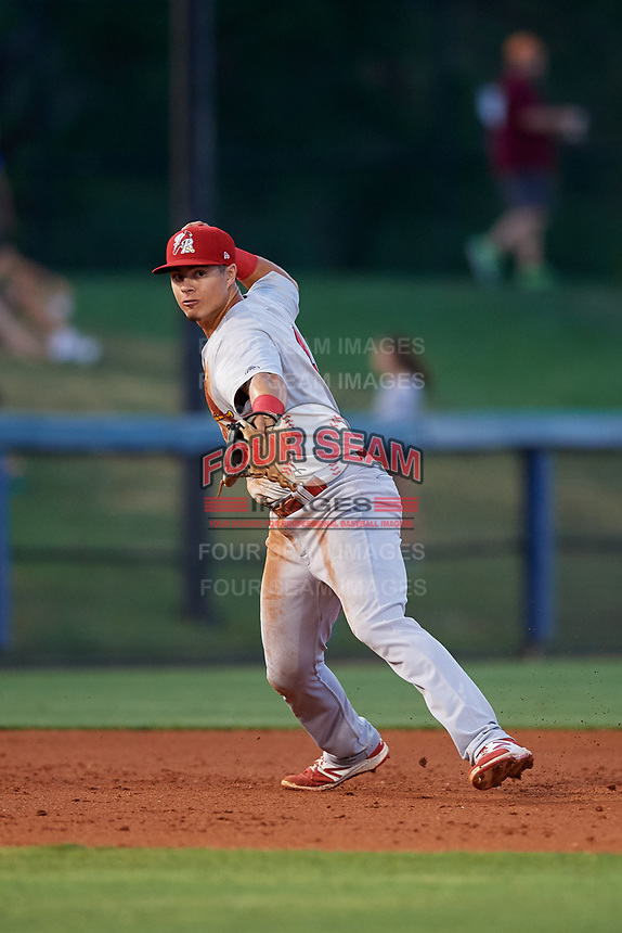 Palm Beach Cardinals third baseman Evan Mendoza (4) throws to first base during a game against the Charlotte Stone Crabs on April 20, 2018 at Charlotte Sports Park in Port Charlotte, Florida.  Charlotte defeated Palm Beach 4-3.  (Mike Janes/Four Seam Images)