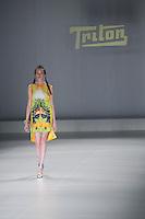 SAO PAULO, SP, 20 DE MARÇO DE 2013. SPFW - PRIMAVERA VERAO 2013 TRITON. A marca Triton apresenta sua coleção  no terceiro dia de desfiles da Sao Paulo Fashion Week - verão 2014 no Pavilhão da Bienal. FOTO ADRIANA SPACA/BRAZIL PHOTO PRESS
