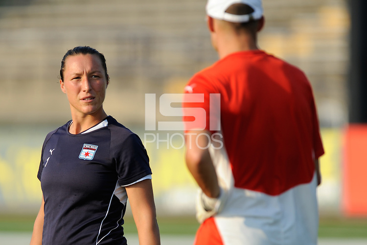 Chicago Red Stars goalkeeper Jillian Loyden (1) talks with goalkeeper coach Nathan Kipp during warm ups. The Philadelphia Independence defeated the Chicago Red Stars 3-0 during a Women's Professional Soccer (WPS) match at John A. Farrell Stadium in West Chester, PA, on July 28, 2010.