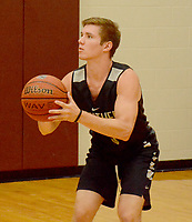 Graham Thomas/Siloam Sunday<br /> Siloam Springs senior boys basketball guard Drew Vachon prepares to take a 3-pointer from the corner during practice inside the Panther Den at Siloam Springs High School on Thursday, July 25.