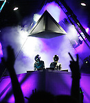 Indio, Ca- French duo Daft Punk performs at Coachella Valley Music and Arts Festival, Saturday night, April 29 2006.