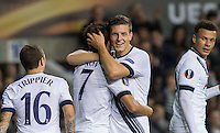 Kevin Wimmer of Tottenham Hotspur congratulates Son Heung-Min of Tottenham Hotspur on his goal during the UEFA Europa League match between Tottenham Hotspur and Qarabag FK at White Hart Lane, London, England on 17 September 2015. Photo by Andy Rowland.