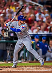 7 October 2017: Chicago Cubs outfielder Ian Happ at bat during the second game of the NLDS against the Washington Nationals at Nationals Park in Washington, DC. The Nationals defeated the Cubs 6-3 and even their best of five Postseason series at one game apiece. Mandatory Credit: Ed Wolfstein Photo *** RAW (NEF) Image File Available ***